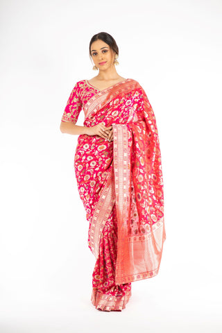 Mesmerizing Pink Color Handloom Jangla Katan Silk Saree with Minakari Weaving from Panache Haute Couture