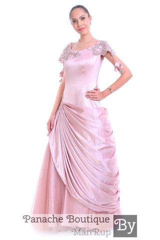 Metallic Pink Colour Drapped Gown