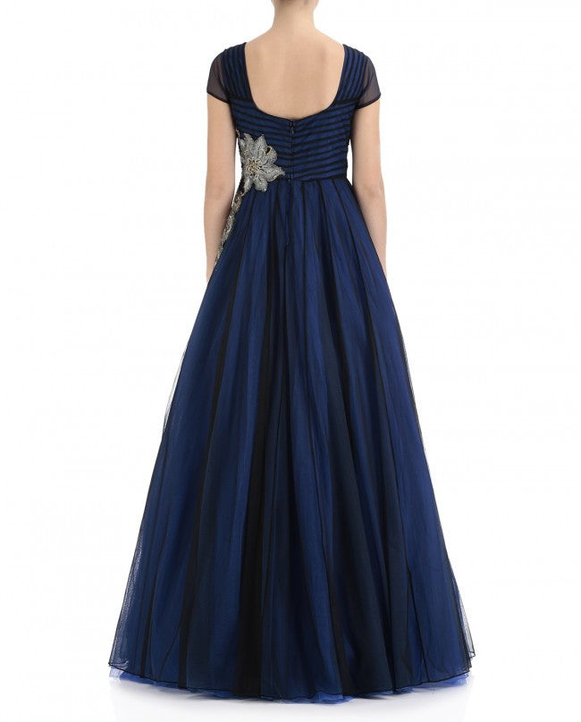 Midnight Blue Color Indo Western Gown