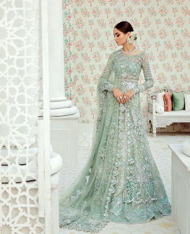 Mint Green Wedding Jacket Lehenga Set