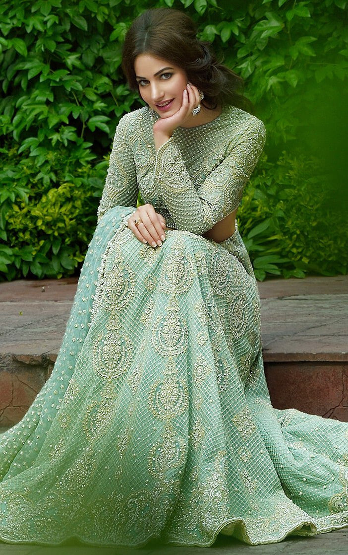 Mint Green Color Designer Lehenga Choli