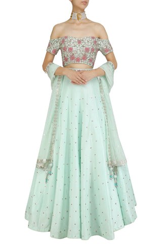 Mint Color Party Lehenga Choli