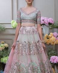 Mint Green Gotta Patti Applique Lehenga