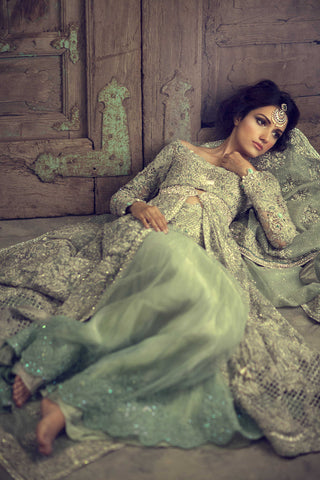 Mint green color jacket lehenga