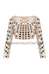 Mirror work blouse in Champagne Color