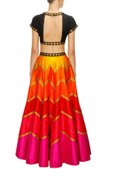 Multicolour Orange Red and Pink Lehenga Set