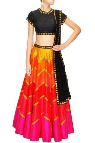 Multicolour Orange, Red and Pink Lehenga Set