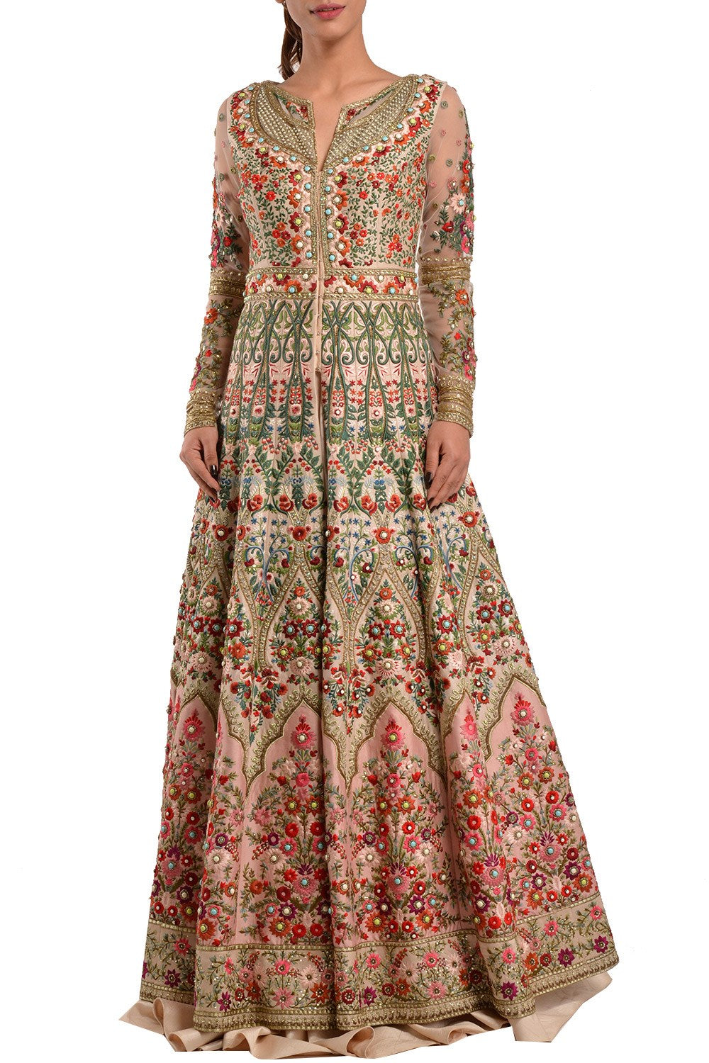 Multicolour Wedding Jacket Lehenga