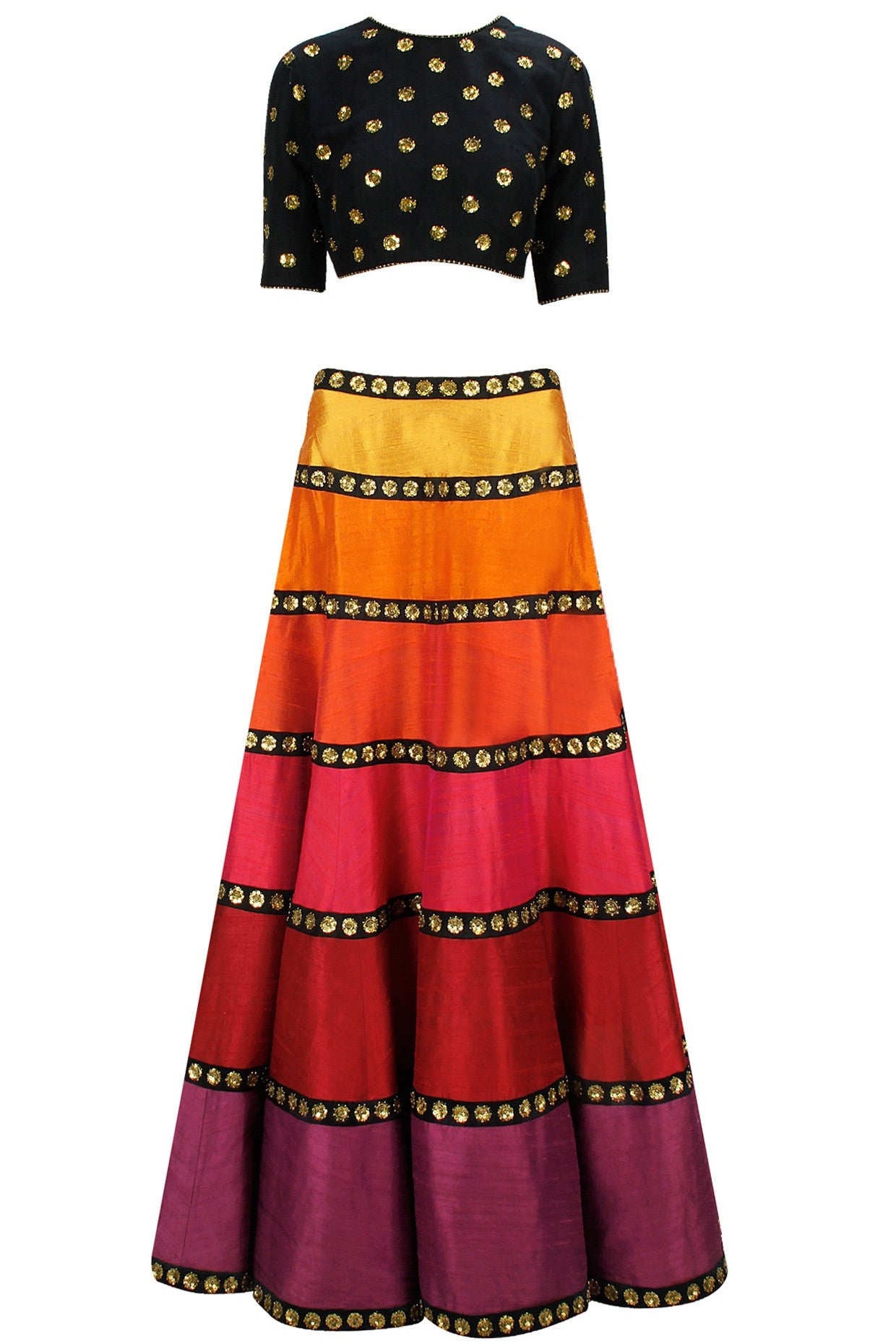 Multicolour tones of Orange Red Lehenga Set
