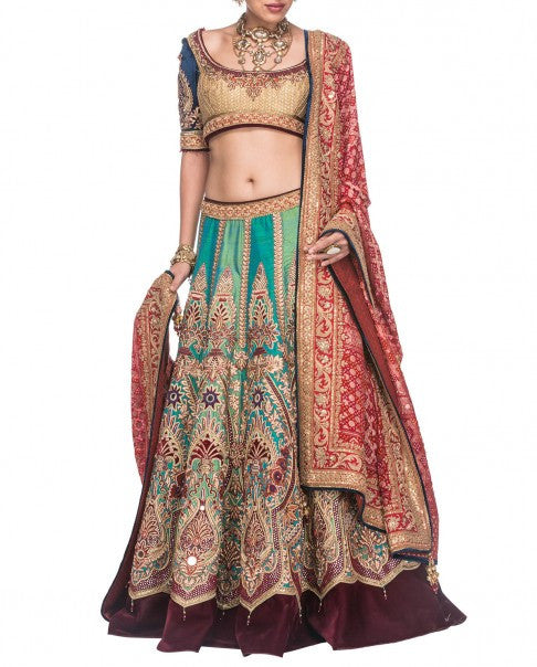 Multicolour Bridal Lehenga Inspired from Tarun Tahiliani