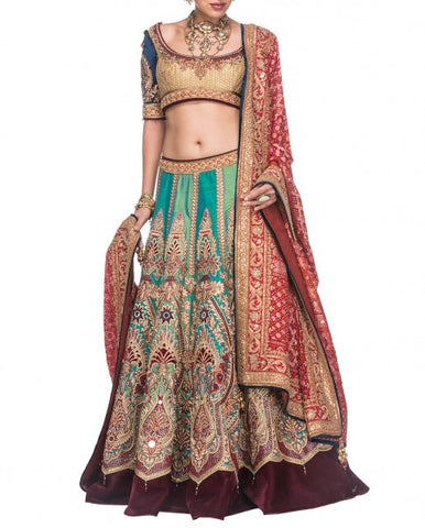 Multicolour Bridal Lehenga Replica from Tarun Tahiliani Collection