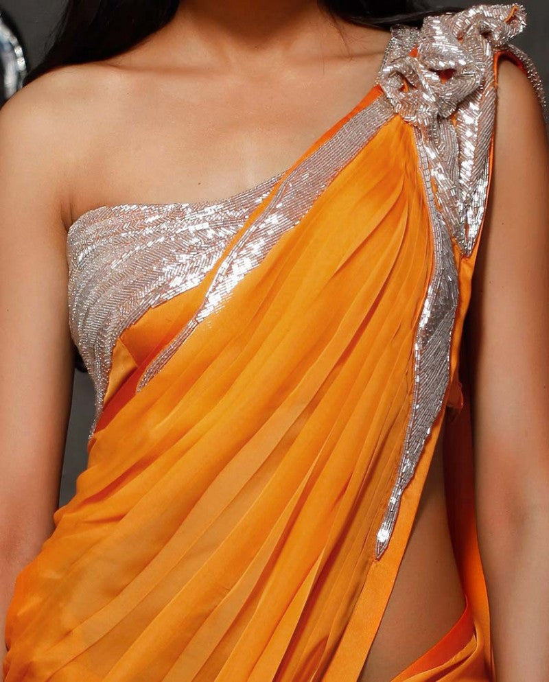 Mustard yellow color party wear saree