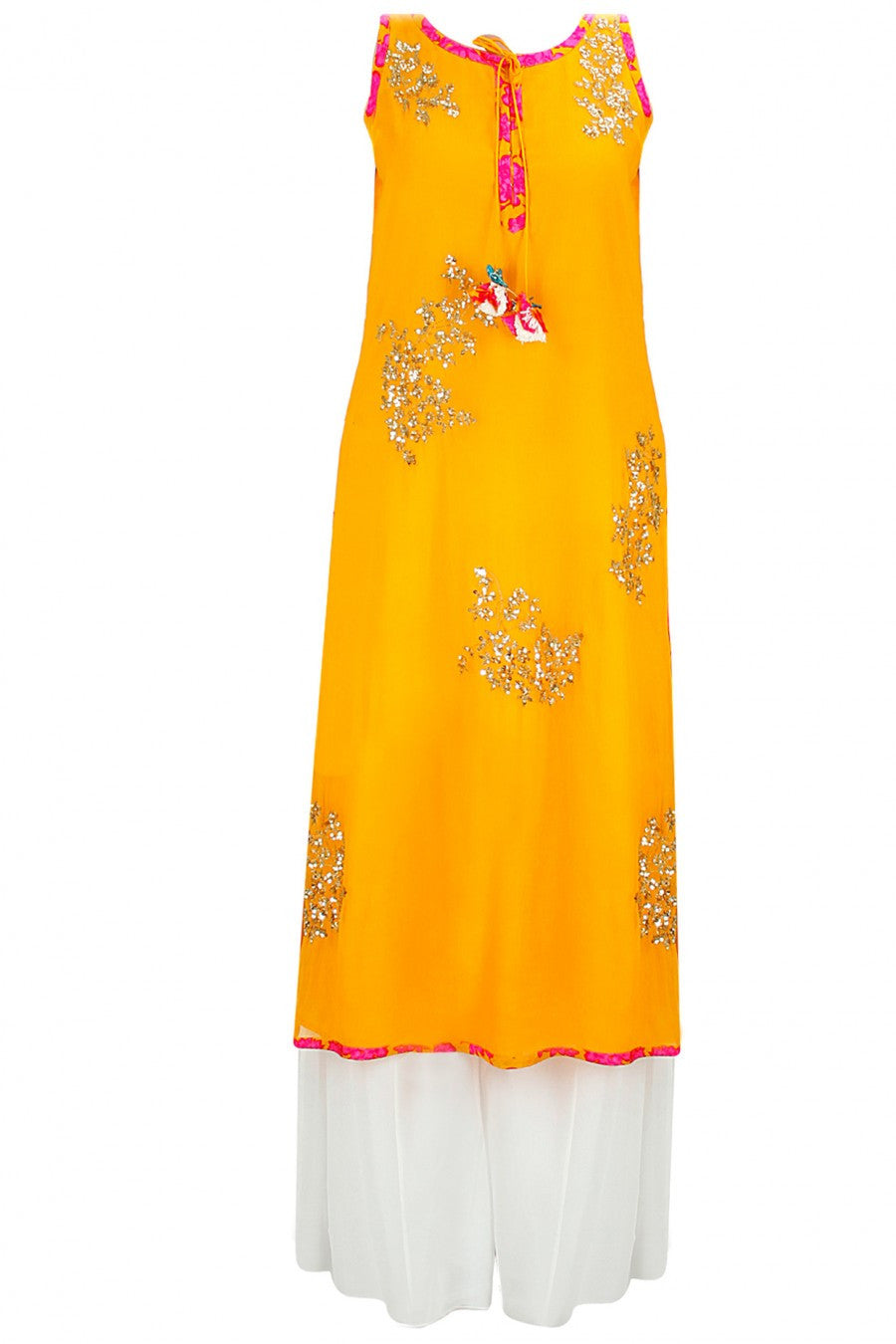 Mustard Yellow Pakistani Suit with Plazzo Pant