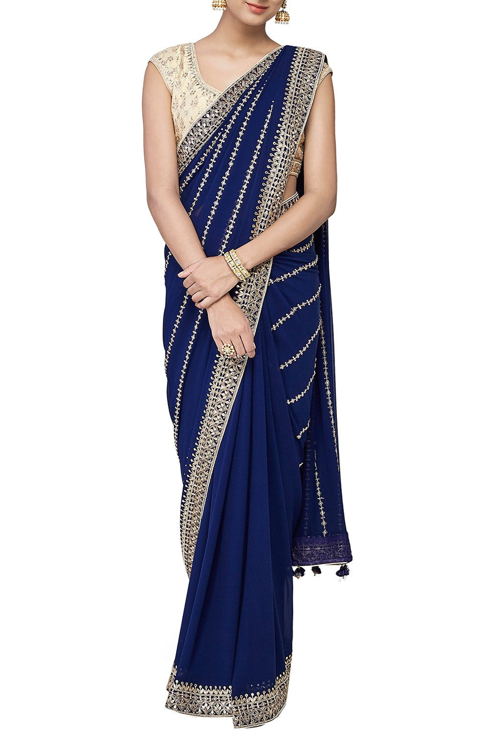 Navy Blue Saree with Gotta Patti and Zari Embroidery