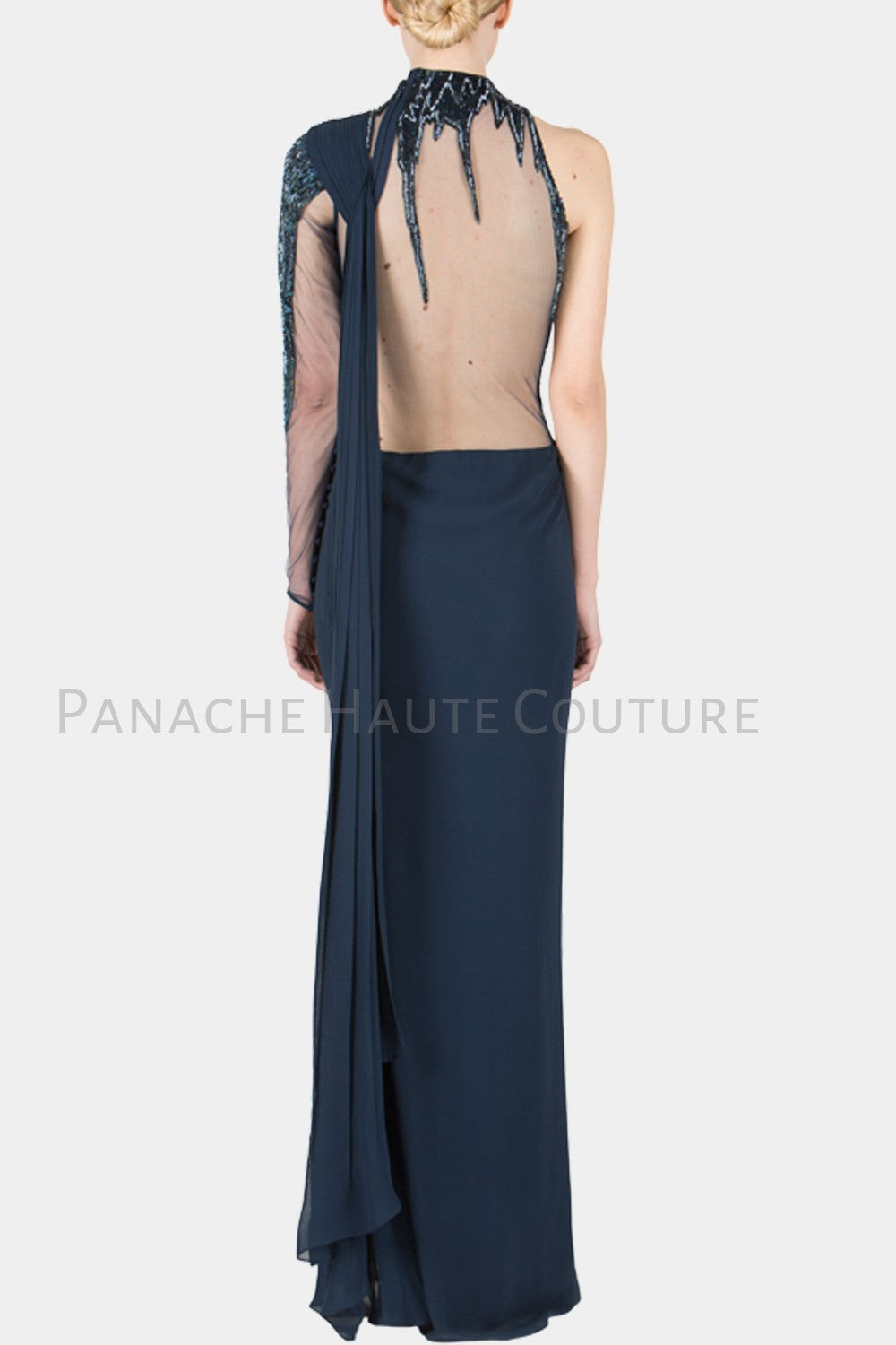 Navy Blue Color Designer Saree Gown