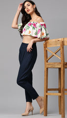 Slub Cotton Camric Navy Blue Color Pants for Women