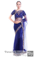 Navy Blue Colour Net Saree with Hand Embroidery