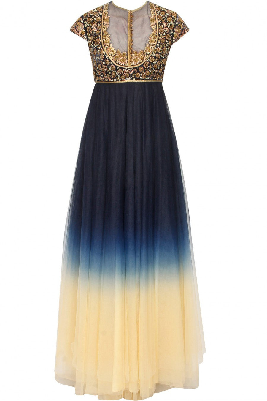 Navy Blue and Ivory shaded anarkali suit