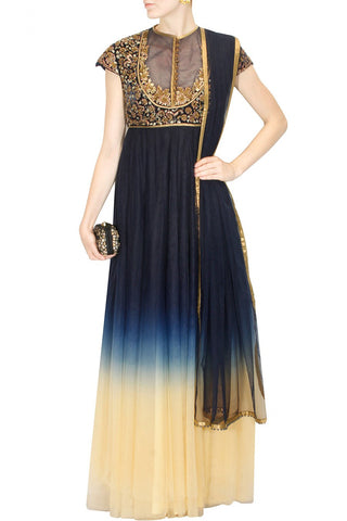 Navy Blue and Ivory shaded anarkali suit by JJ VALAYA