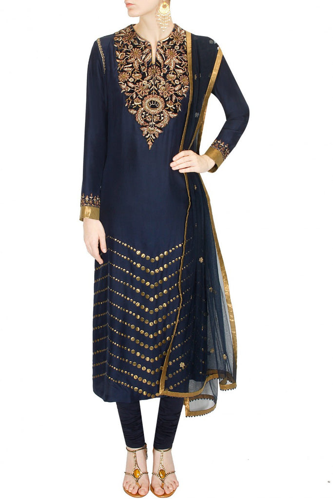 Navy Blue Churidaar by JJ Valaya