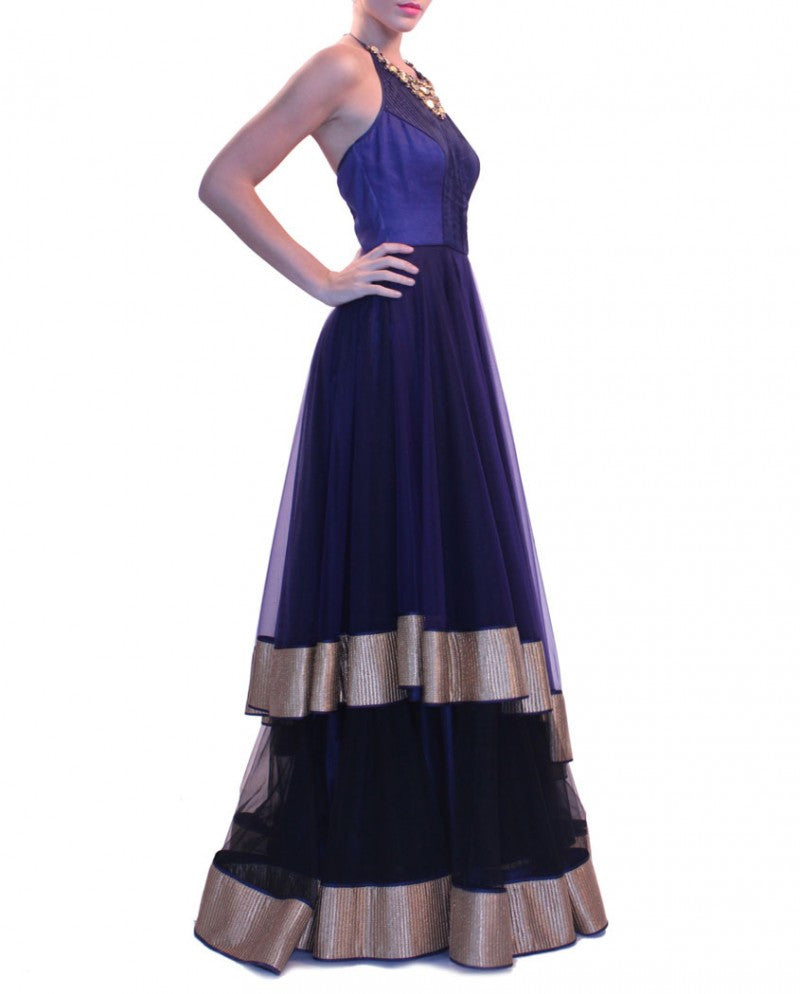 Navy blue party wear lehenga