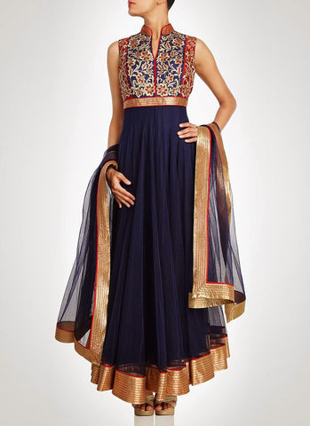 Blue color long anarkali salwar kameez
