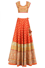 Orange Color Party Lehenga Choli in Banarasi Silk Brocade
