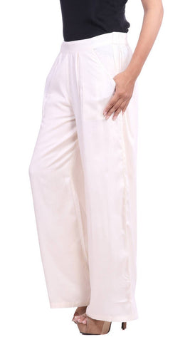 Jaipur Solid Rayon Palazzo in Offwhite Colour