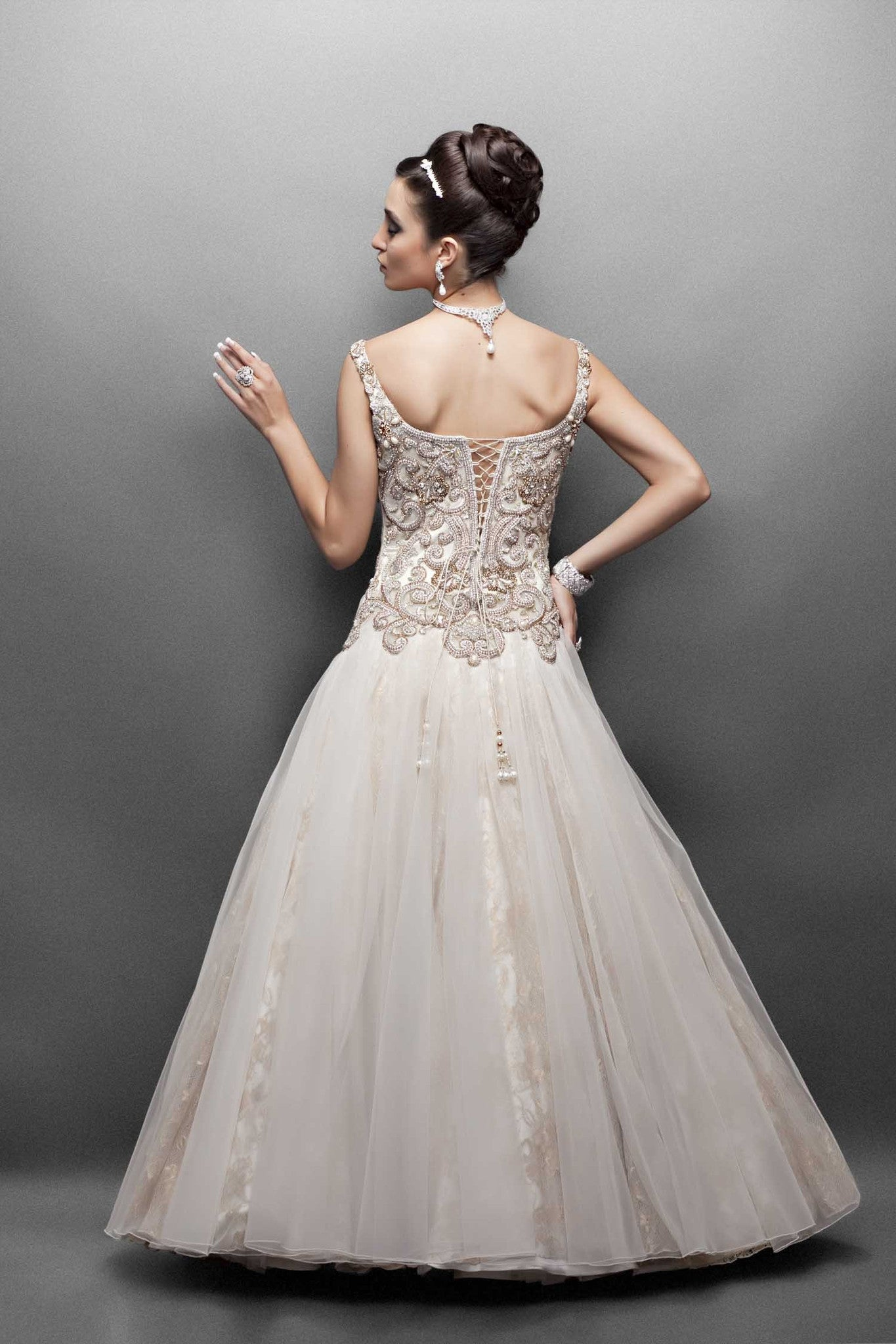 Western Wedding Dresses.Offwhite Color Indo Western Bridal Gown