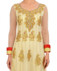 Offwhite long anarkali suit with Gotta work