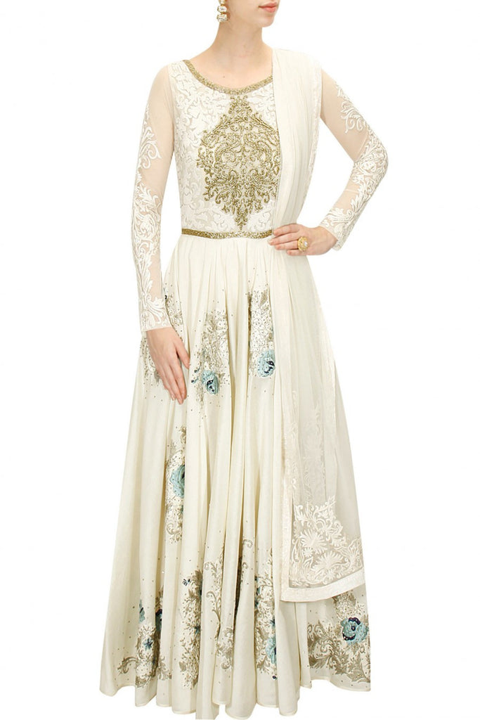 Ivory floor length anarkali