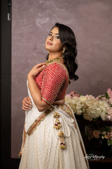 Offwhite and Red Lehenga Set from Gamila Collection