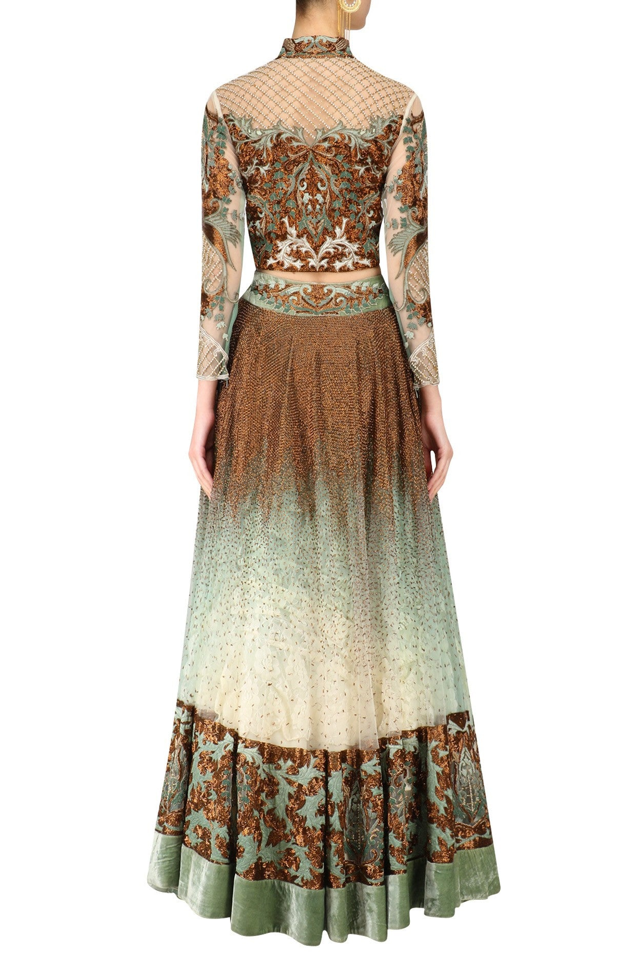 Olive Color Shaded Lehenga Choli