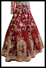 Opulent Deep red Colored Designer Anarkali Lehenga