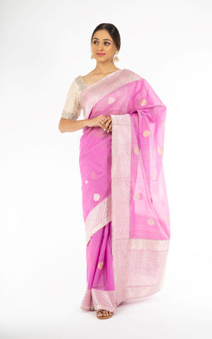 Opulent Purple Color Kora Silk Saree with Sona Rupa Zari from Panache Haute Couture