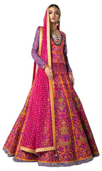 Orange Color Wedding Lehenga with Pink Colour Thread Embroidery