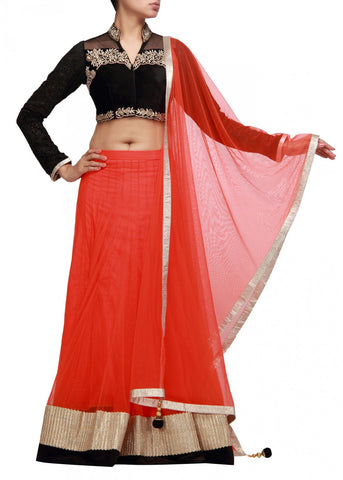 Orange and black lehenga choli