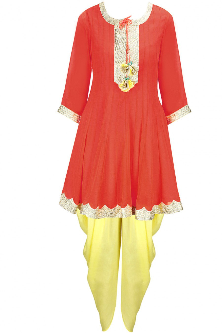 Orange and lemon dhoti kurta set