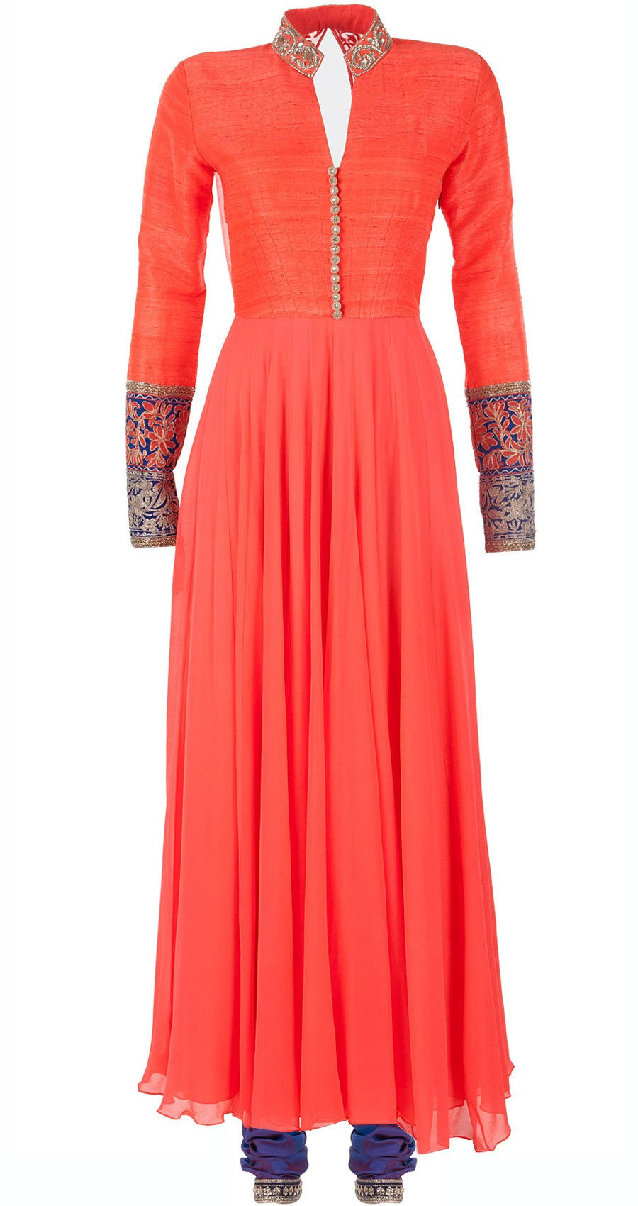 Orange color anarkali with Blue churidar
