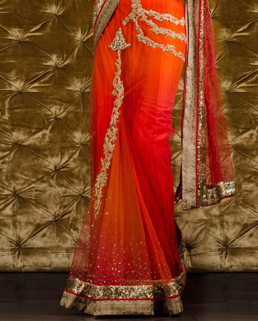 Orange and red dual shade bridal saree