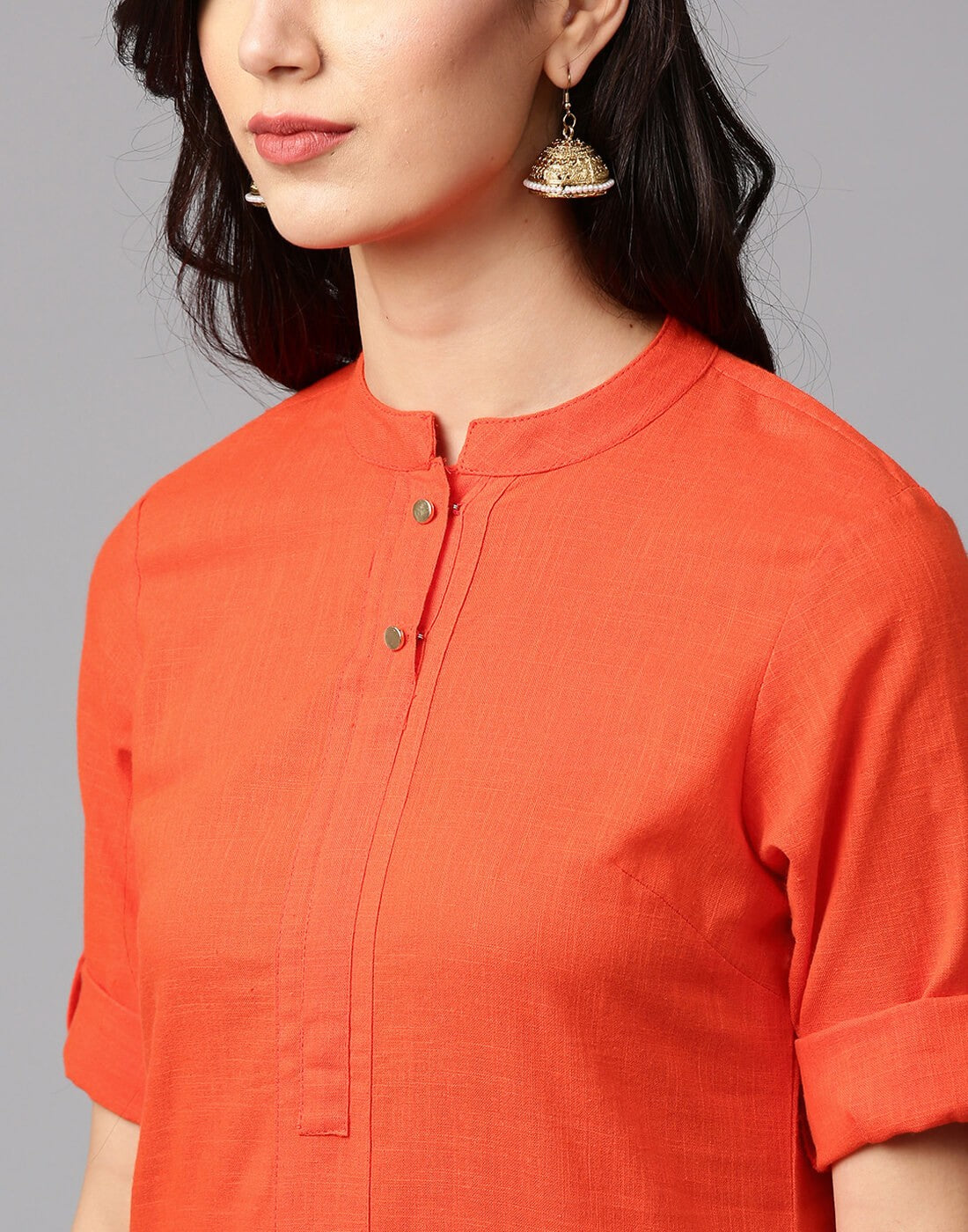 Flex Cotton Orange Colour Kurta with Offwhite Palazzo