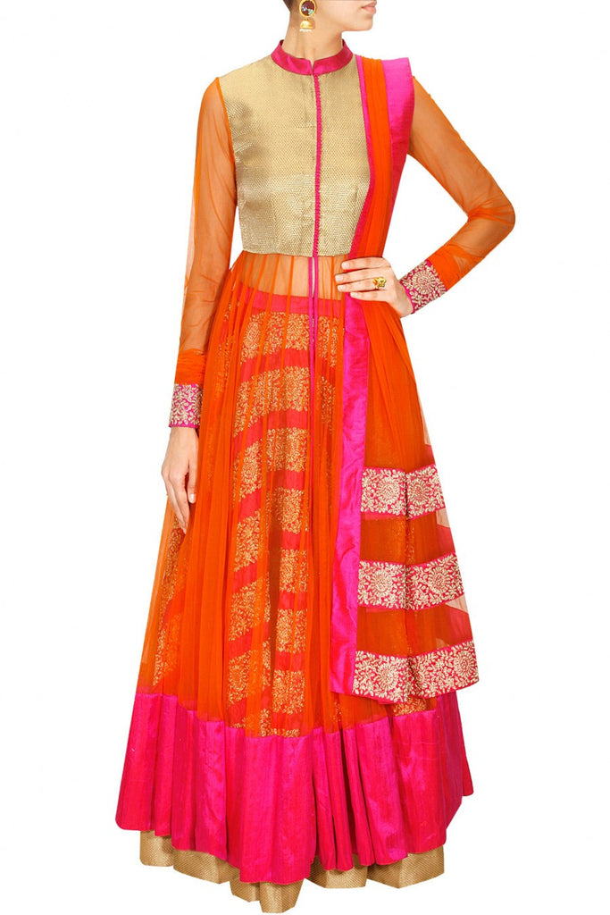 Pink and Orange anarkali lehenga set