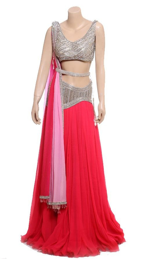 Pink color Reception wear lehenga choli