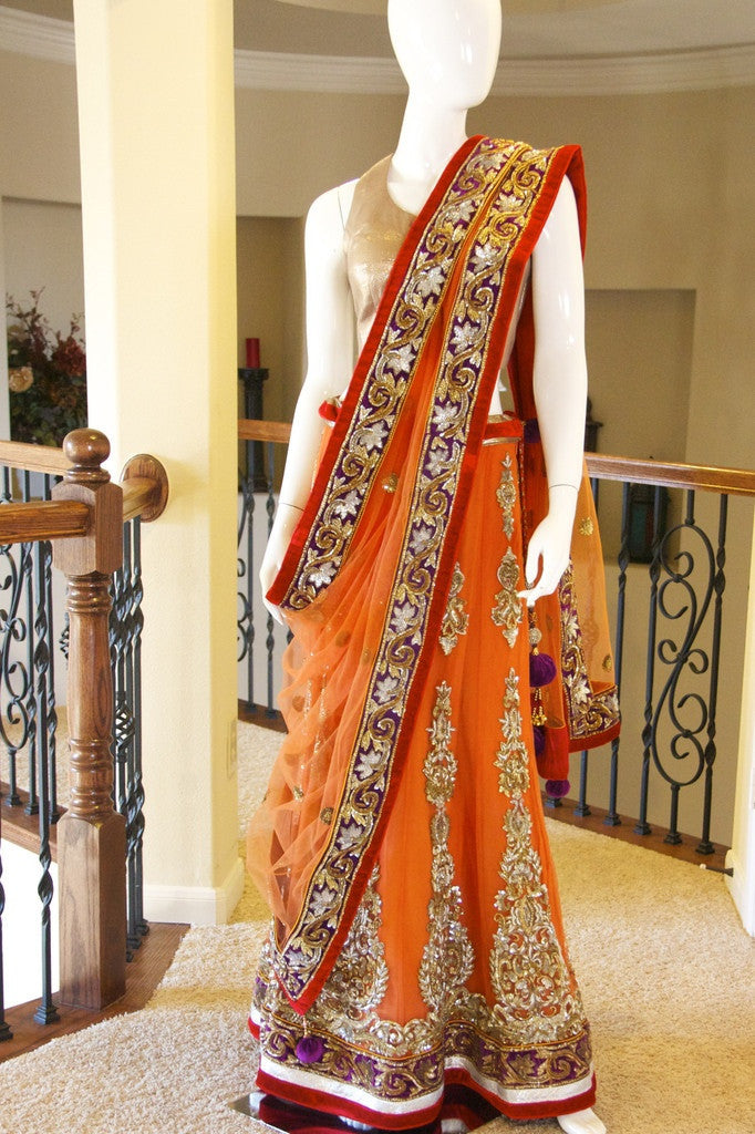 Orange color bridal lehenga choli
