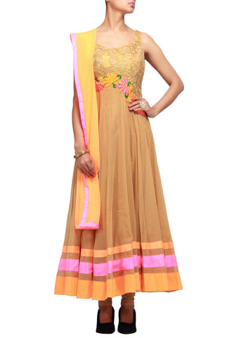 Beige color Anarkali suit online