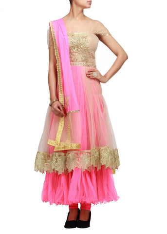 Gold and pink anarkali suit with pleats and zari embroidery