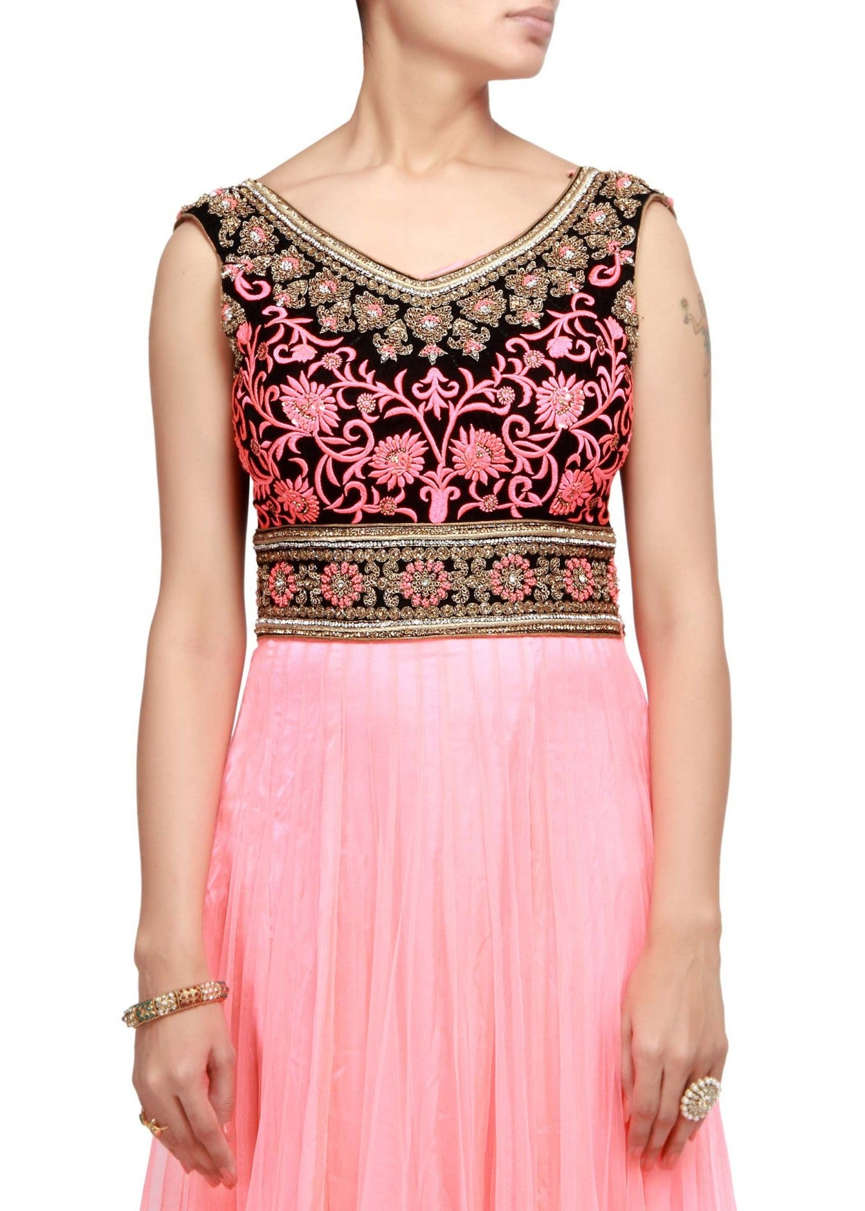 Pinkish peach anarkali suit with embroidered yoke