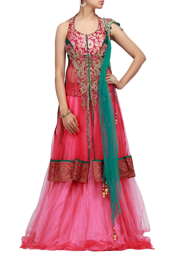 Pink color party wear lehenga