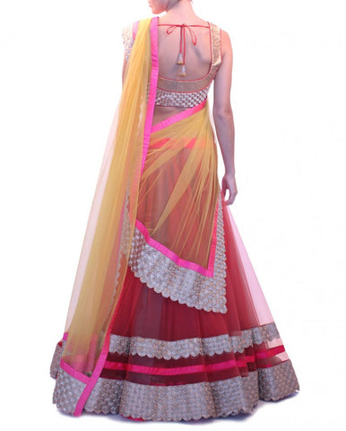 Red and yellow color party wear lehenga