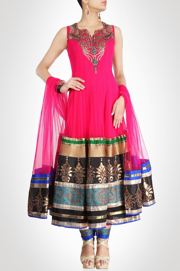 Dark Pink color long anarkali suit